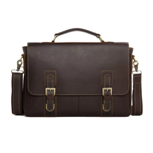 Vintage Style Leather Laptop Satchel Messenger Bag - Blue Sebe