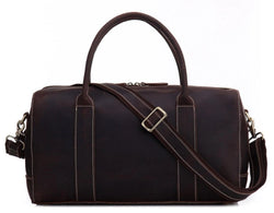 Vintage Genuine Full Grain Leather Travel Weekender Bag Dark Brown - Blue Sebe