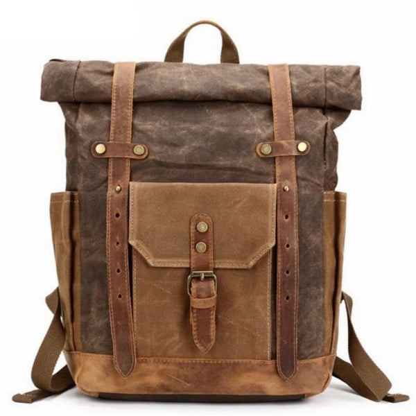 Waxed Canvas with Leather Trim Expandable Backpack - Blue Sebe