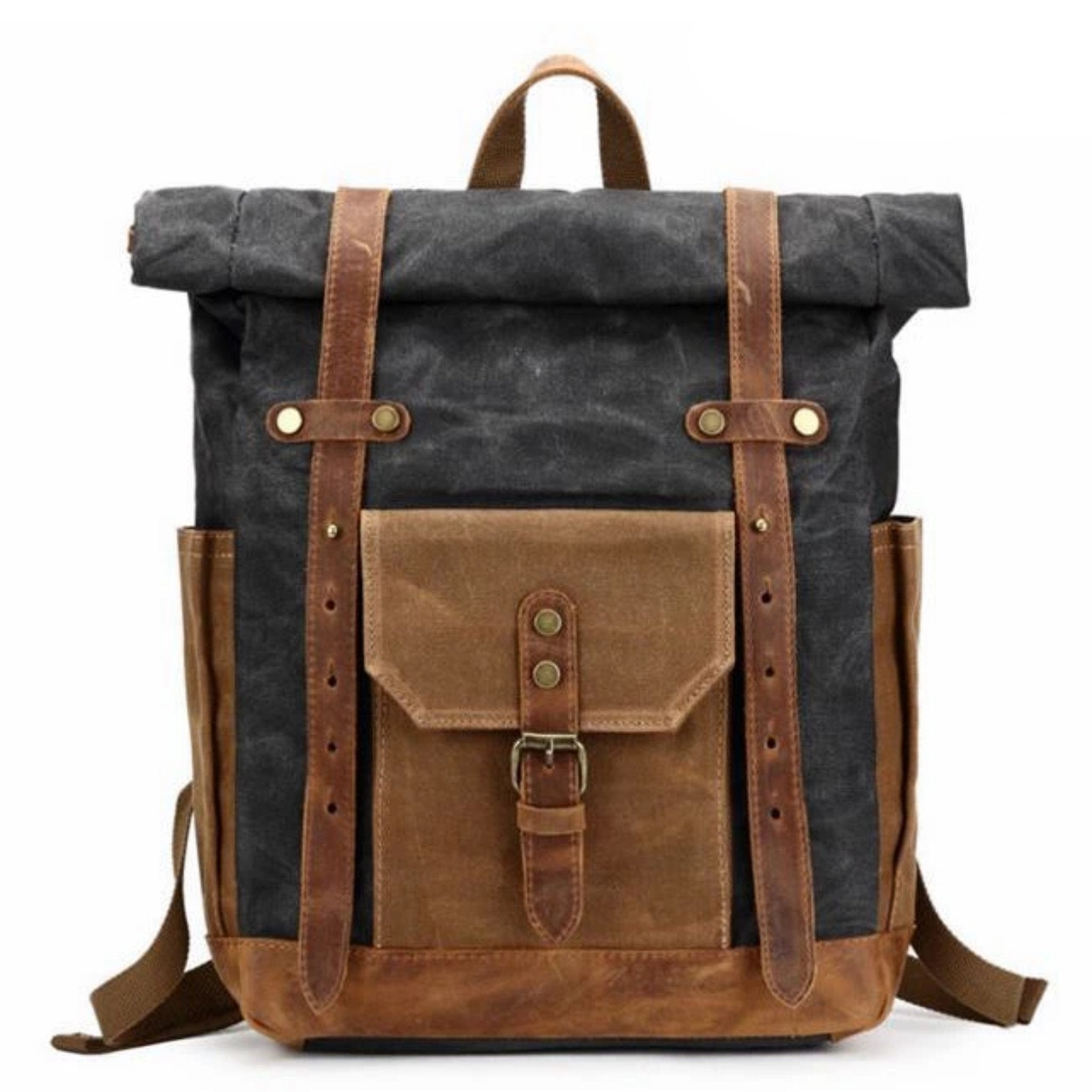 Waxed Canvas with Leather Trim Expandable Backpack - Blue Sebe Handmade Leather Bags