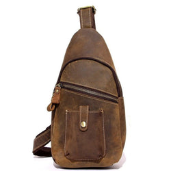 Handmade Full Grain Leather Cross body Sling Chest Bag | Brown - Blue Sebe