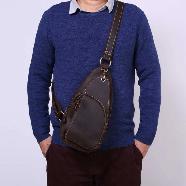 Handmade Genuine Leather Men's Messenger Chest Pack | Brown - Blue Sebe Handmade Leather Bags
