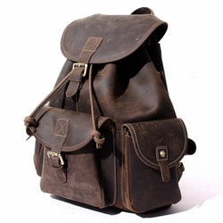 Vintage Leather Large Dark Brown Backpack - Blue Sebe