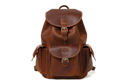 Handmade Leather Backpack School Backpack - Vintage Brown - Blue Sebe