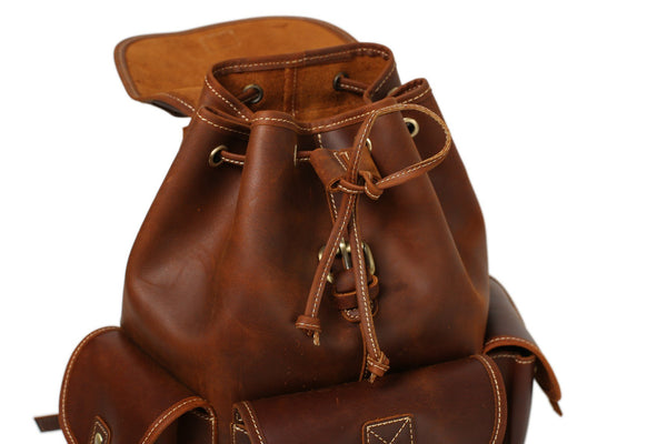 Handmade Leather Backpack School Backpack - Vintage Brown - Blue Sebe Handmade Leather Bags