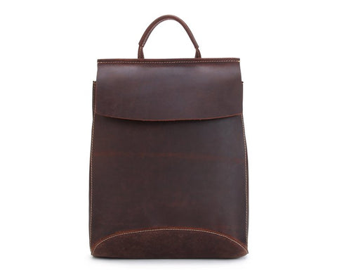 Handmade Vintage Full Grain Leather Backpack -Dark Brown - Blue Sebe