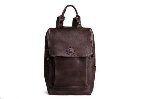 Handmade Vegetable Tanned Leather Backpack - Dark Coffee - Blue Sebe
