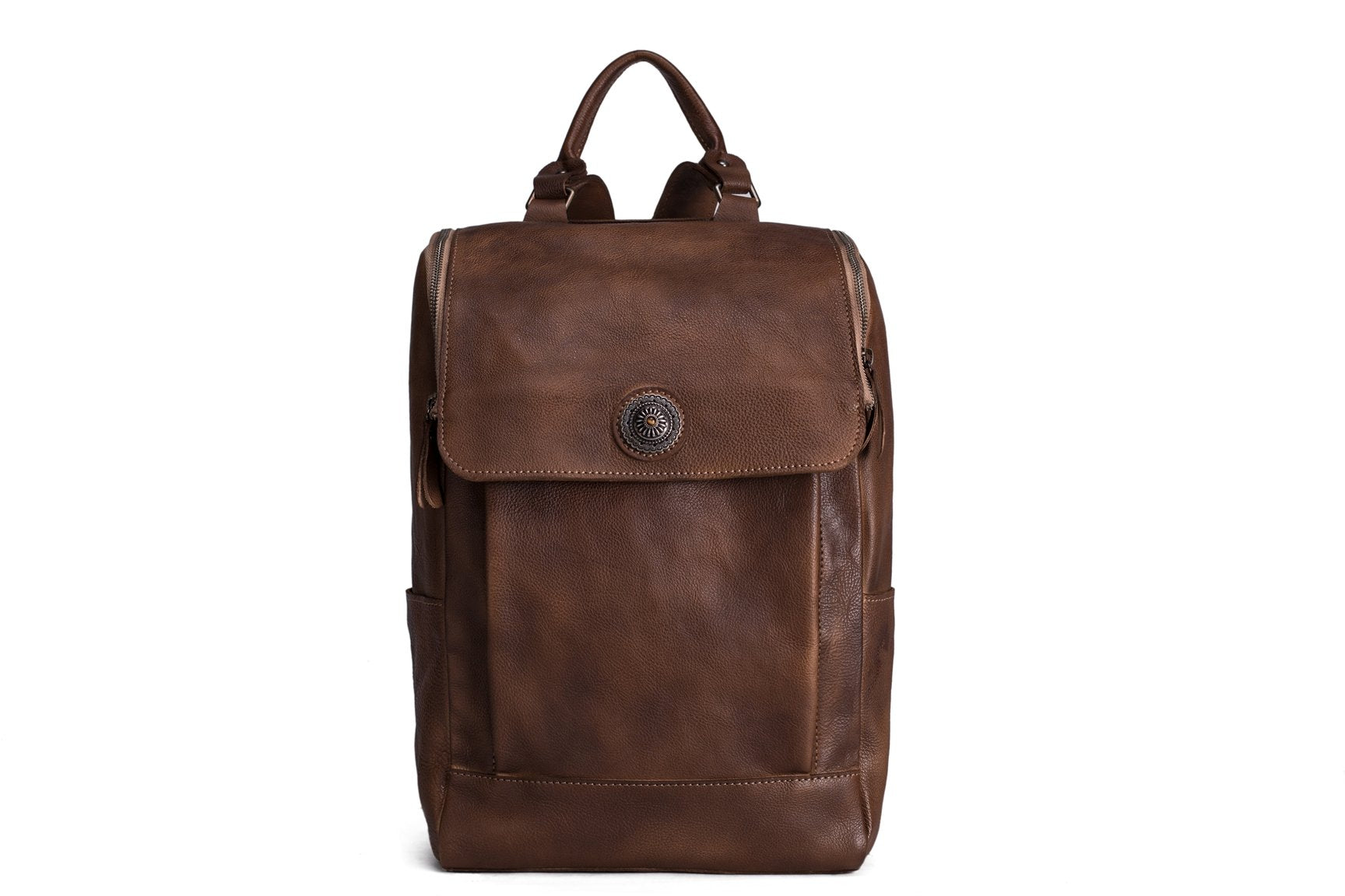 Handmade Vegetable Tanned Leather Backpack - Vintage Brown - Blue Sebe Handmade Leather Bags