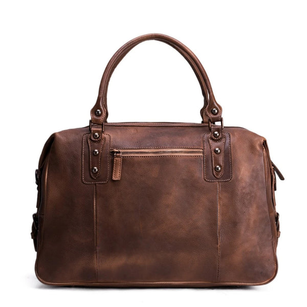 Handmade Vintage Vegetable Tanned Leather Holdall Weekender Handbag - Blue Sebe Handmade Leather Bags