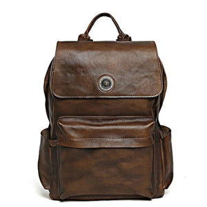 Handmade Full Grain Leather Backpack - Vintage Brown - Blue Sebe