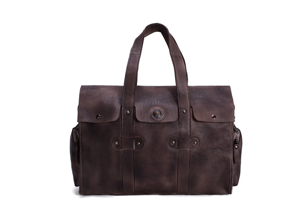 Handmade Vegetable Tanned Leather Tote Bag - Dark Coffee - Blue Sebe Handmade Leather Bags