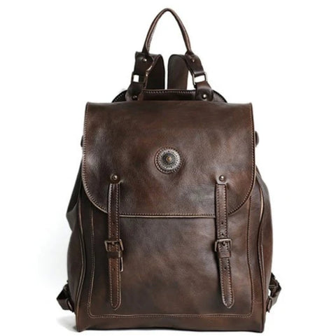 Handmade Retro Full Grain Leather Backpack - Blue Sebe