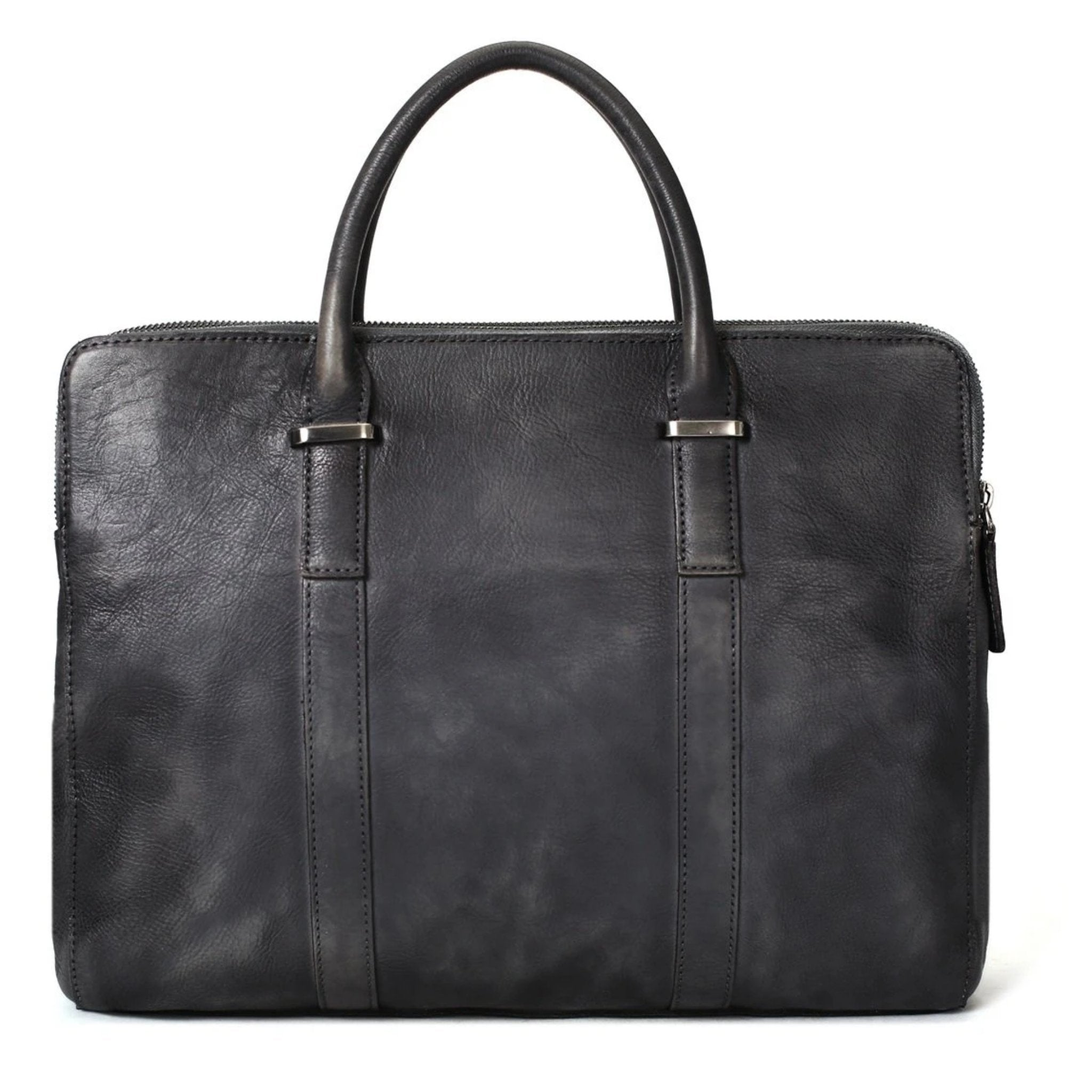 Vintage Vegetable Tanned Leather Briefcase - Dark Grey - Blue Sebe