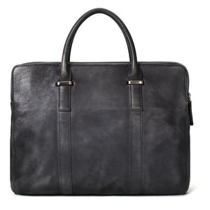 Vintage Vegetable Tanned Leather Briefcase - Dark Grey - Blue Sebe Handmade Leather Bags