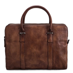 Vintage Vegetable Tanned Leather Briefcase - Vintage Brown - Blue Sebe