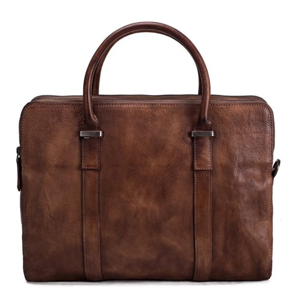 Vintage Vegetable Tanned Leather Briefcase - Vintage Brown - Blue Sebe Handmade Leather Bags