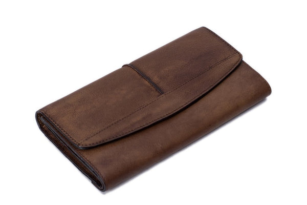 Handmade Vintage Natural Leather Men's Long Wallet - VB - Blue Sebe Handmade Leather Bags
