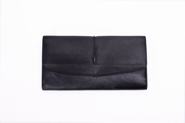 Handmade Vintage Natural Leather Men's Long Wallet - DC - Blue Sebe Handmade Leather Bags
