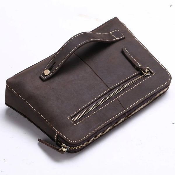 Handmade Genuine Leather Clutch, Travel Wallet - Blue Sebe