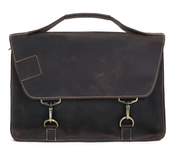 Vintage Genuine Leather Satchel Messenger Bag - Dark Brown - Blue Sebe
