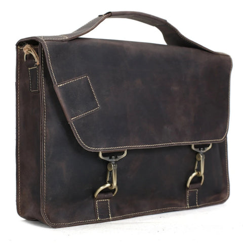 Vintage Genuine Leather Satchel Messenger Bag - Dark Brown - Blue Sebe Handmade Leather Bags