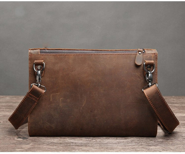 Handmade Genuine Natural Leather Clutch, Messenger Bag - DB - Blue Sebe