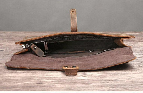 Handmade Genuine Natural Leather Clutch, Messenger Bag - DB - Blue Sebe Handmade Leather Bags