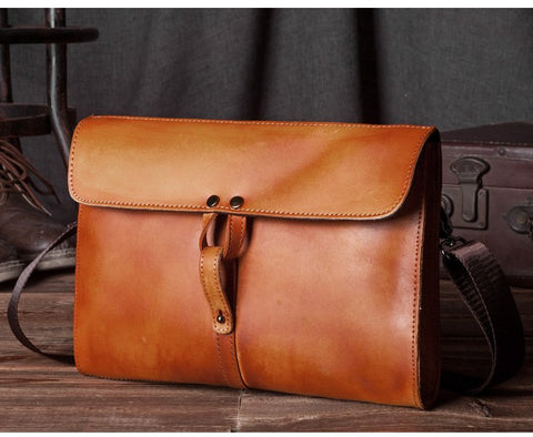 Handmade Genuine Natural Leather Clutch, Messenger Bag - TB - Blue Sebe Handmade Leather Bags