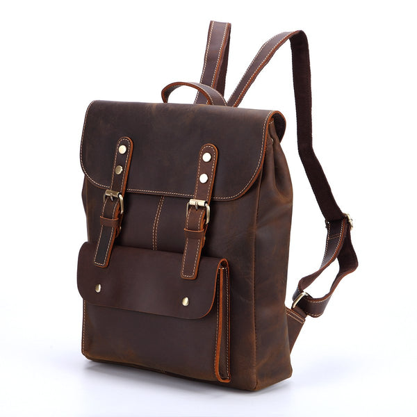 Handmade Vintage Leather Brown Backpack - Blue Sebe Handmade Leather Bags