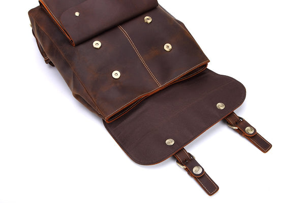 Handmade Vintage Leather Brown Backpack - Blue Sebe