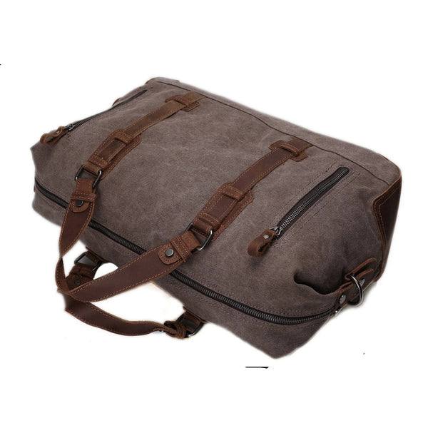 Waxed Canvas Overnight Duffle Travel Bag - Blue Sebe Handmade Leather Bags
