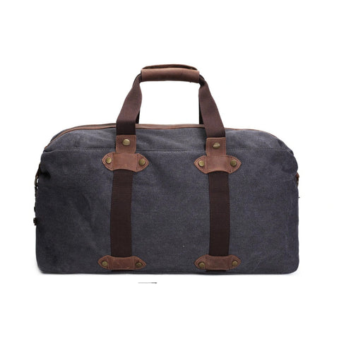 Waxed Canvas Holdall Duffle Travel Bag - Blue Sebe Handmade Leather Bags