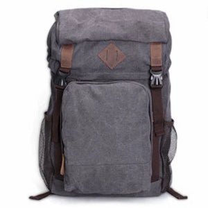 Handmade Waxed Canvas Hiking Travel Backpack - Blue Sebe