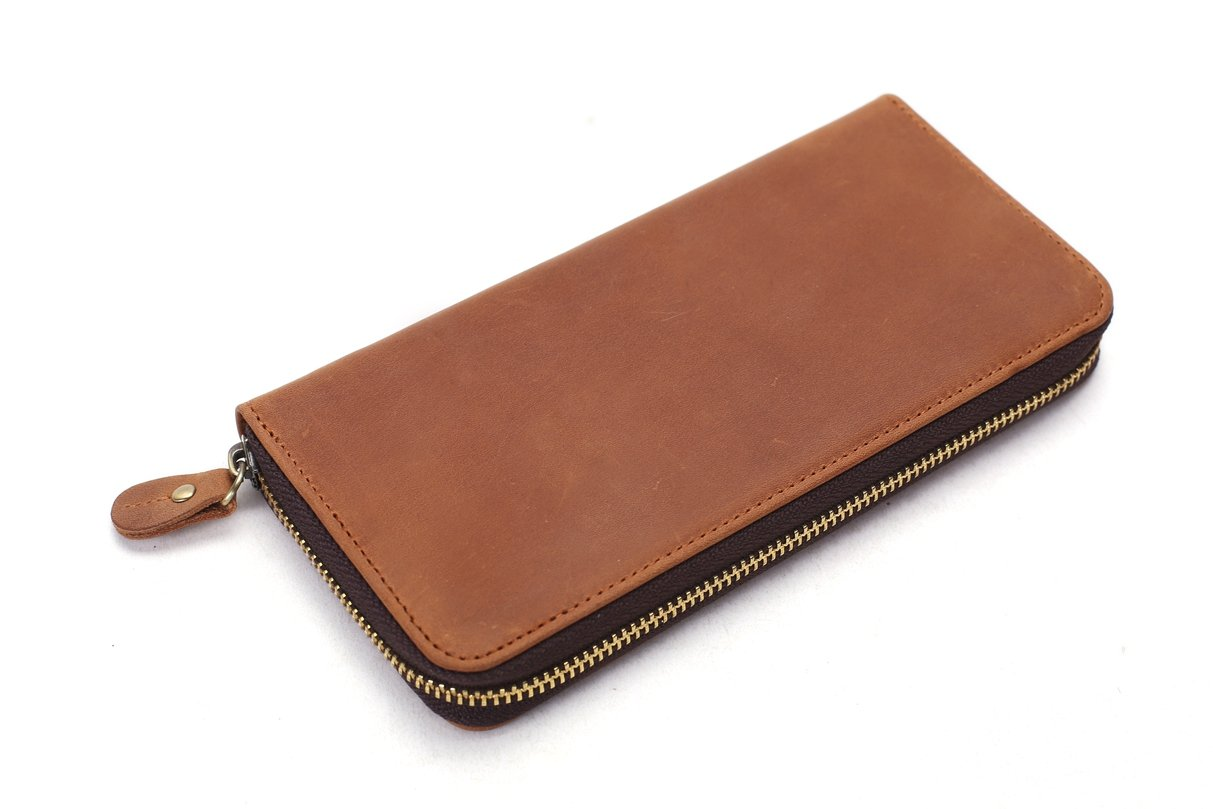 Handmade Vintage Genuine Leather Long Wallet - Blue Sebe