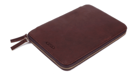 Handmade Leather Personalized Travel Wallet With Zipper - Blue Sebe Handmade Leather Bags