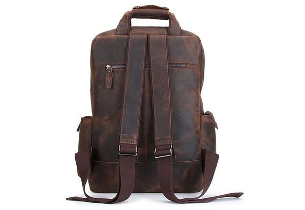Handmade Vintage Leather Organizer Backpack - Blue Sebe
