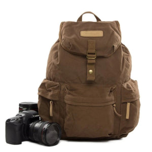Waxed Canvas Camera Backpack - DSLR - Blue Sebe Handmade Leather Bags