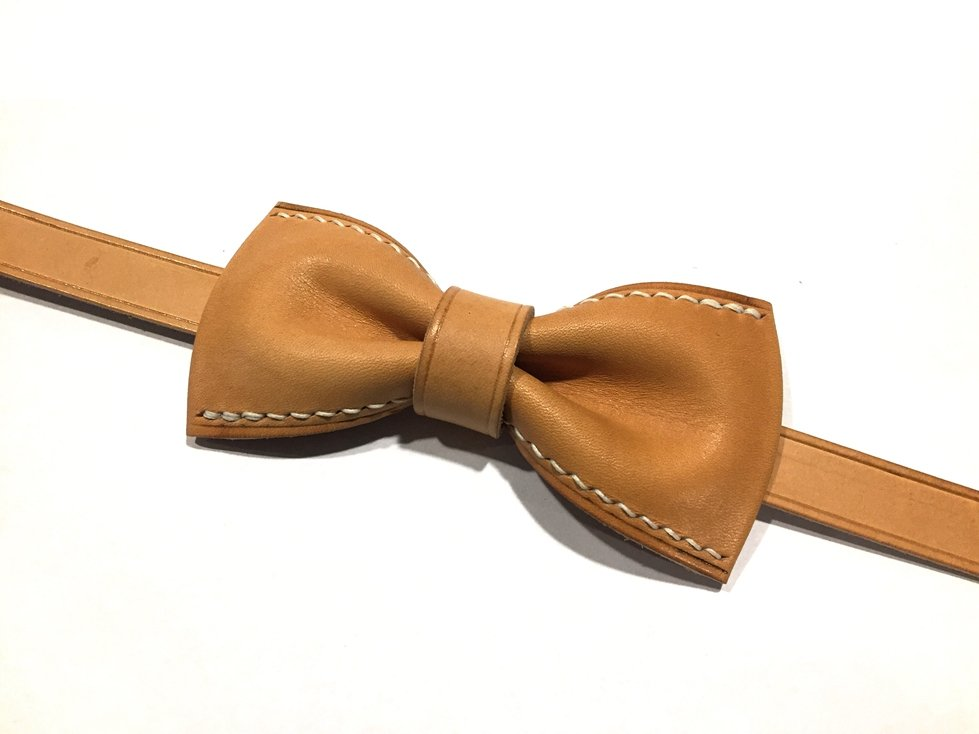 Handmade Vegetable Tanned Leather Bow Tie - Blue Sebe Handmade Leather Bags