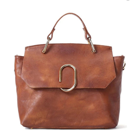 Handmade Full Grain Leather Women's Handbag | Brown - Blue Sebe