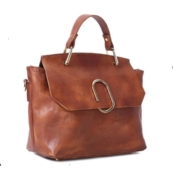 Handmade Full Grain Leather Women's Handbag | Brown - Blue Sebe Handmade Leather Bags