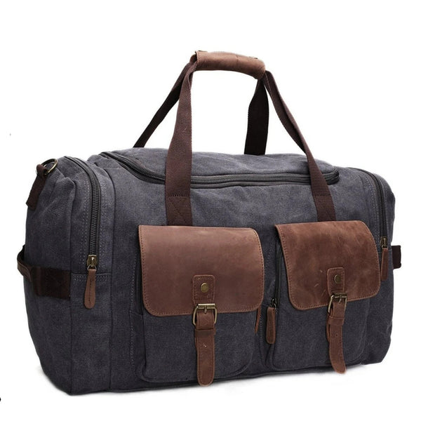 Canvas Leather Travel Military Duffle Bag - Blue Sebe Handmade Leather Bags