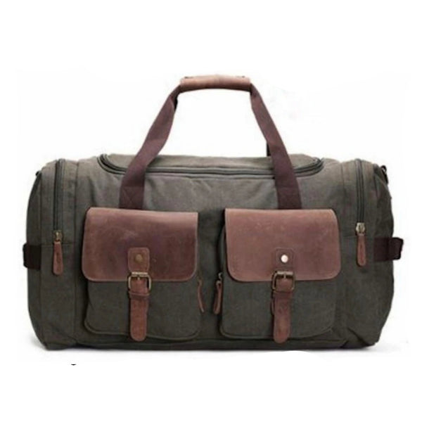 Canvas Leather Travel Military Duffle Bag - Blue Sebe