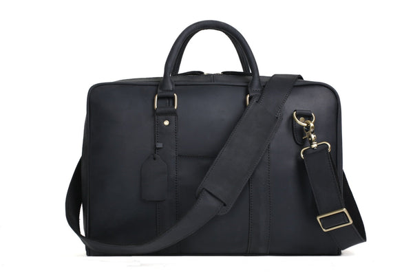 Handmade Leather Business Satchel Briefcase - Black - Blue Sebe