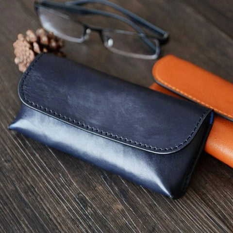 Handmade Vegetable Tanned Italian Leather Sunglass Case/Pouch - Blue Sebe Handmade Leather Bags