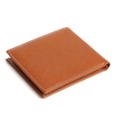 Handmade Full Grain Leather Men's Short Wallet - Tan Brown - Blue Sebe