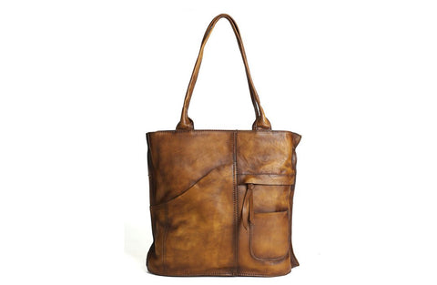 Handmade Vintage Brown Full Grain Leather Tote Handbag - Blue Sebe