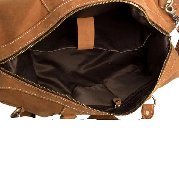 Handmade Genuine Leather Travel Duffle Bag - Yellow Brown - Blue Sebe