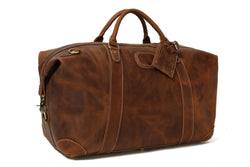 Handmade Vintage Full Grain Leather Travel Duffle Bag - Vintage Brown - Blue Sebe