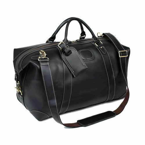 Handmade Vintage Full Grain Leather Travel Duffle Bag - Black - Blue Sebe Handmade Leather Bags