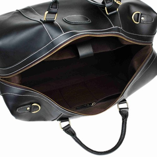 Handmade Vintage Full Grain Leather Travel Duffle Bag - Black - Blue Sebe